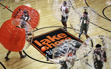 Bubble Soccer on Basketball Court