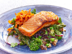 Harvest Rooftop Chicago Restaurant Salmon Salad
